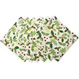 DII Oversized 20x20 Cotton Napkins, Pack of 6, Boughs of Holly - Perfect for Dinner Parties, Christmas, Holidays, or Everyday use