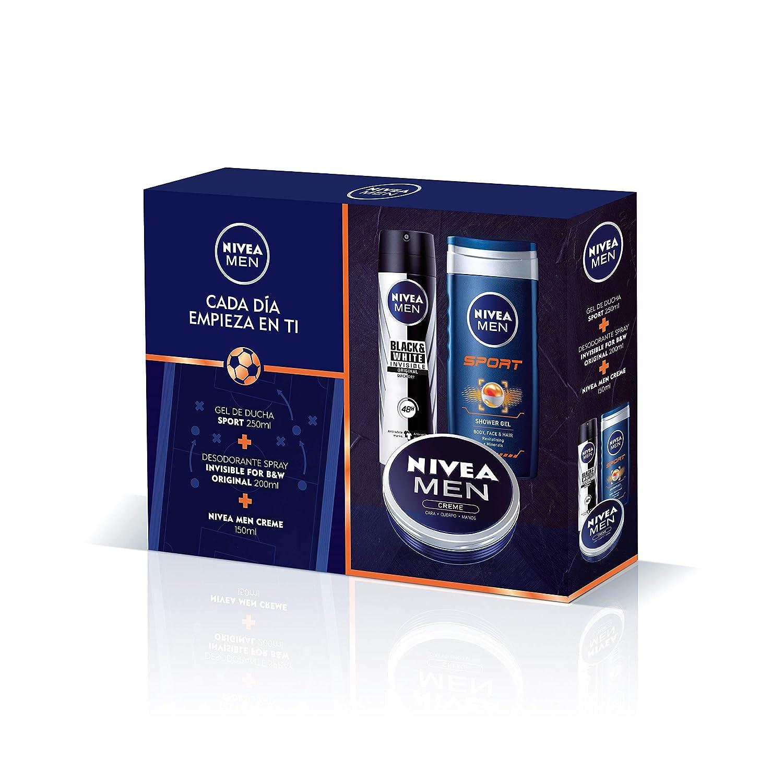 NIVEA MEN Pack Creme, set de regalo con crema hidratante NIVEA MEN Creme (1 x 150 ml), spray desodorante invisible (1 x 200 ml) y gel de hombre para ducha (1 x 250 ml)