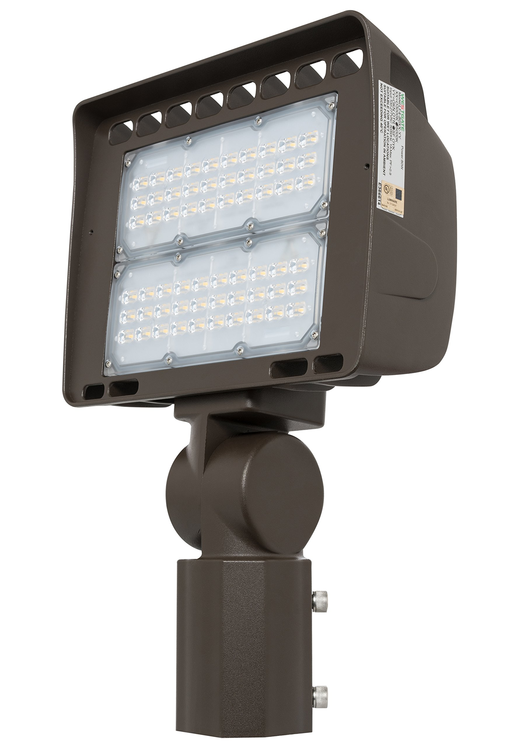 Westgate Lighting Outdoor LED Flood Light Fixture Slip Fitter Mount - Shoebox Street Area Parking Pole Security Floodlights - 120-277V - IP65 Waterproof UL Listed (100 Watt, 5000K Cool White)
