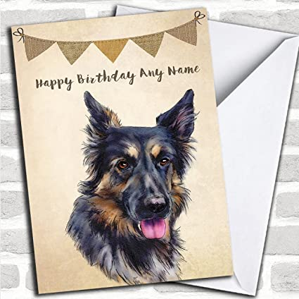 Amazon Vintage Burlap Bunting Dog German Shepherd Personalized Birthday Card Office Products