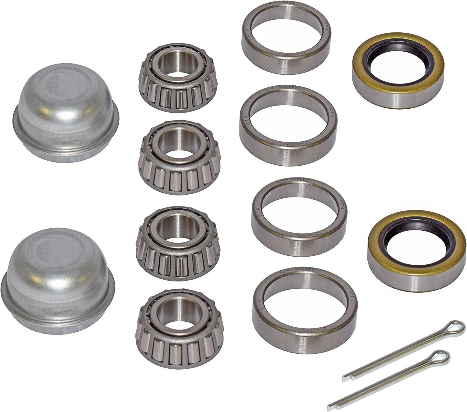 Pair of Trailer Bearing Repair Kits for 3//4 Inch Straight Spindles