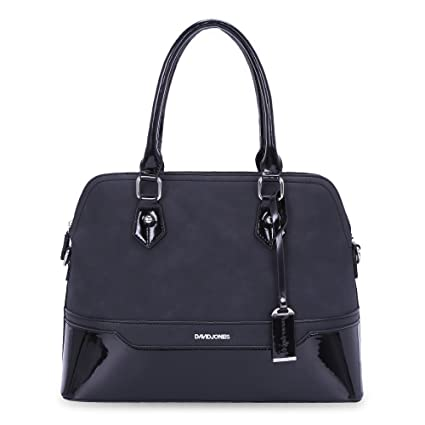 1f0f20f8f18e8 David Jones - Women's Bugatti Handbag - Patent Glossy PU Leather Bowling Bag  - Top Handle Shoulder Crossbody Bag Stripes - Elegant Duffel Tote Bag ...