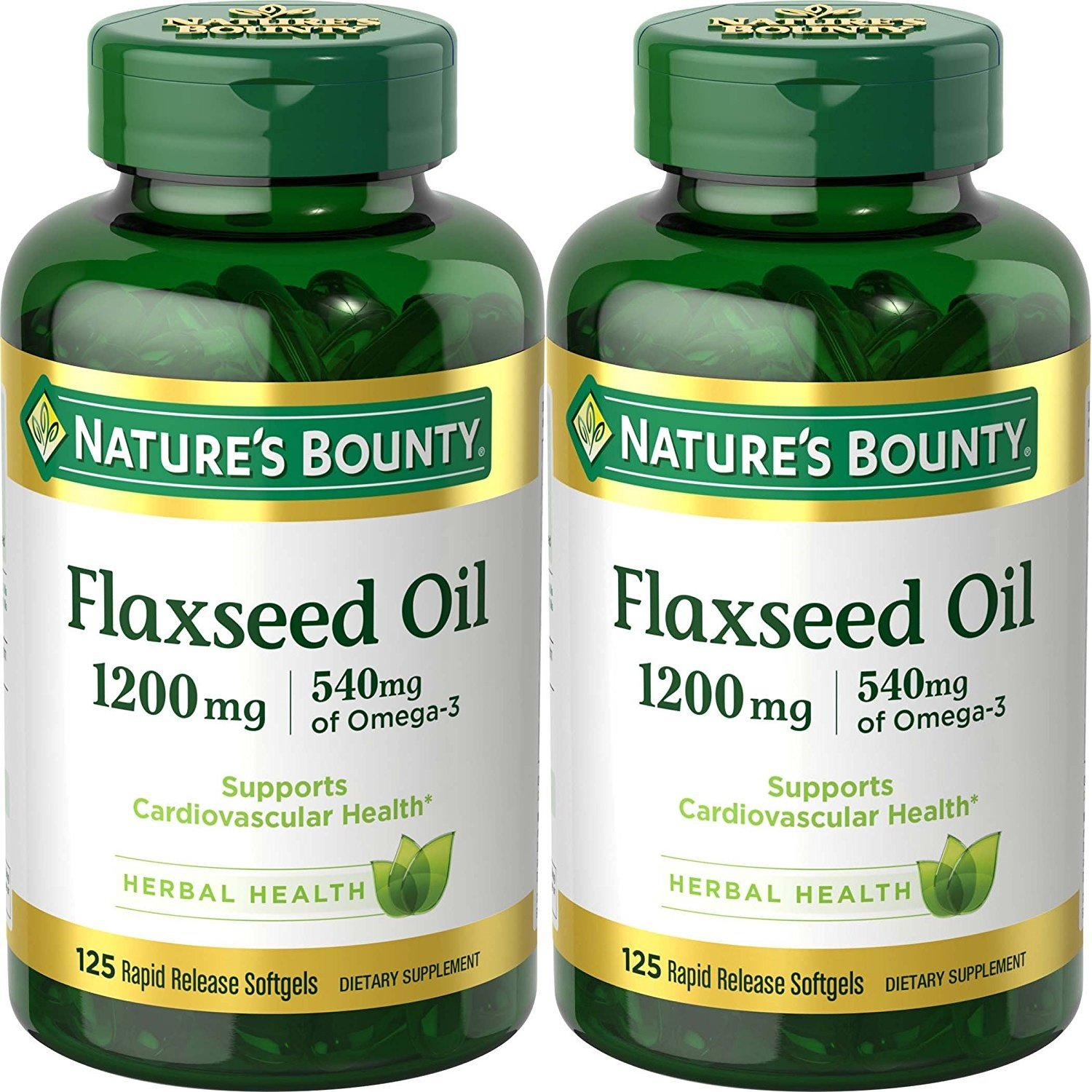 Nature's Bounty Natural Cold Pressed Flaxseed Oil, 1200mg, 250 Softgels (2 x 125 Count Bottles)