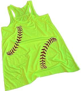 51b3e384ff Devious Apparel Baseball Softball Red Glitter Stitches Team Mom Tee Printed Women's  Tank Top