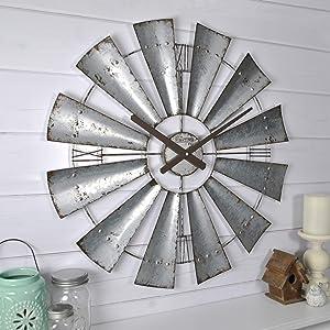 "FirsTime & Co. Windmill Wall Clock, 24"", Galvanized Gray,50083"