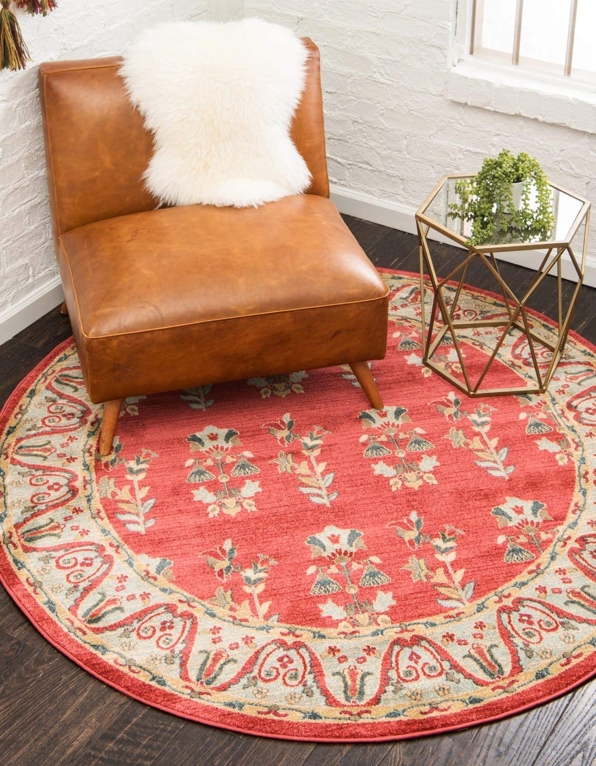Unique Loom Fars Collection Tribal Modern Casual Red Round Rug 6 0 x 6 0