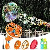 iBaseToy Bubble Machine for Kids - Bubble Gun with 3 Bubble Wands, Bubbles in Bubble Unique Design Bubble Blower Toys for Ind