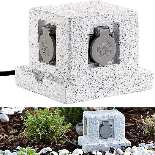 Enchufe exterior Royal Gardineer:Toma de corriente para jardín de 4 vías en imitación piedra; protección contra salpicaduras IP44.: Amazon.es: Iluminación