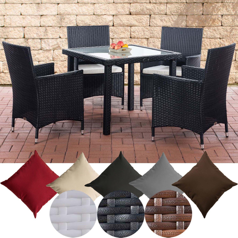 CLP Balkon Sitzgruppe Rio aus Polyrattan | Outdoor-Möbel für Balkon und Terrasse | Wetterfester Tisch mit Stühlen erhältlich Schwarz, Bezugsfarbe: Cremeweiß