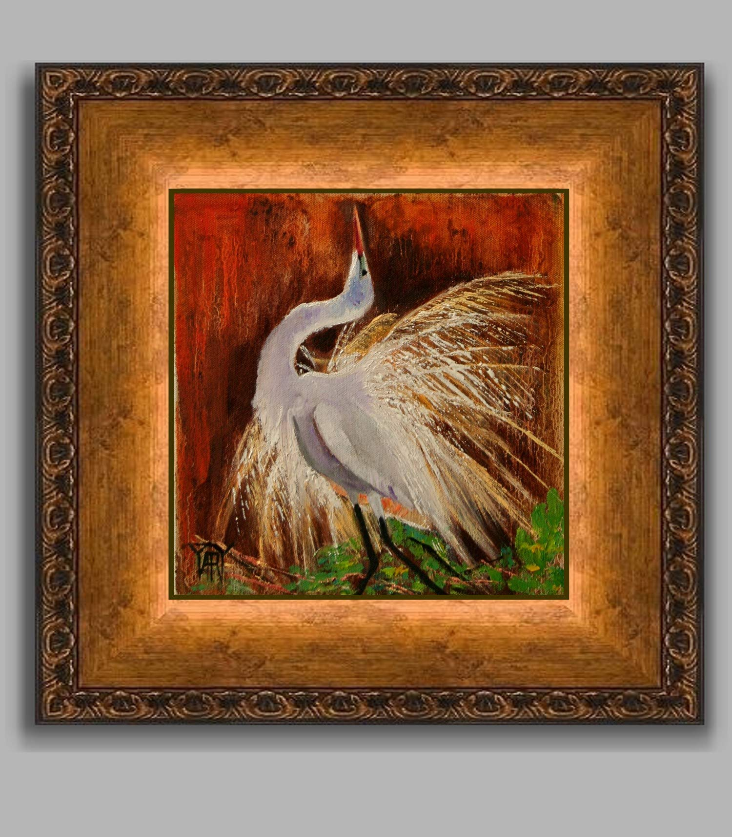 The Mating Dance CHRISTMAS SALE small wildlife nature work by internationally renown painter Yary Dluhos
