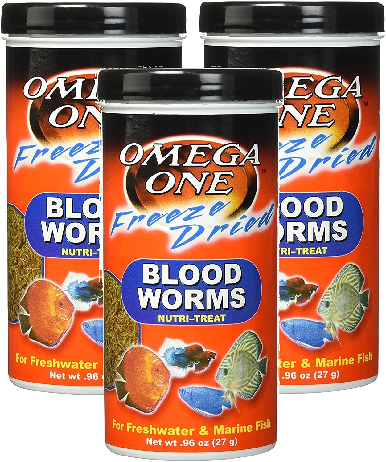 Omega One (3 Pack) Freeze Dried Blood Worms 0.96oz