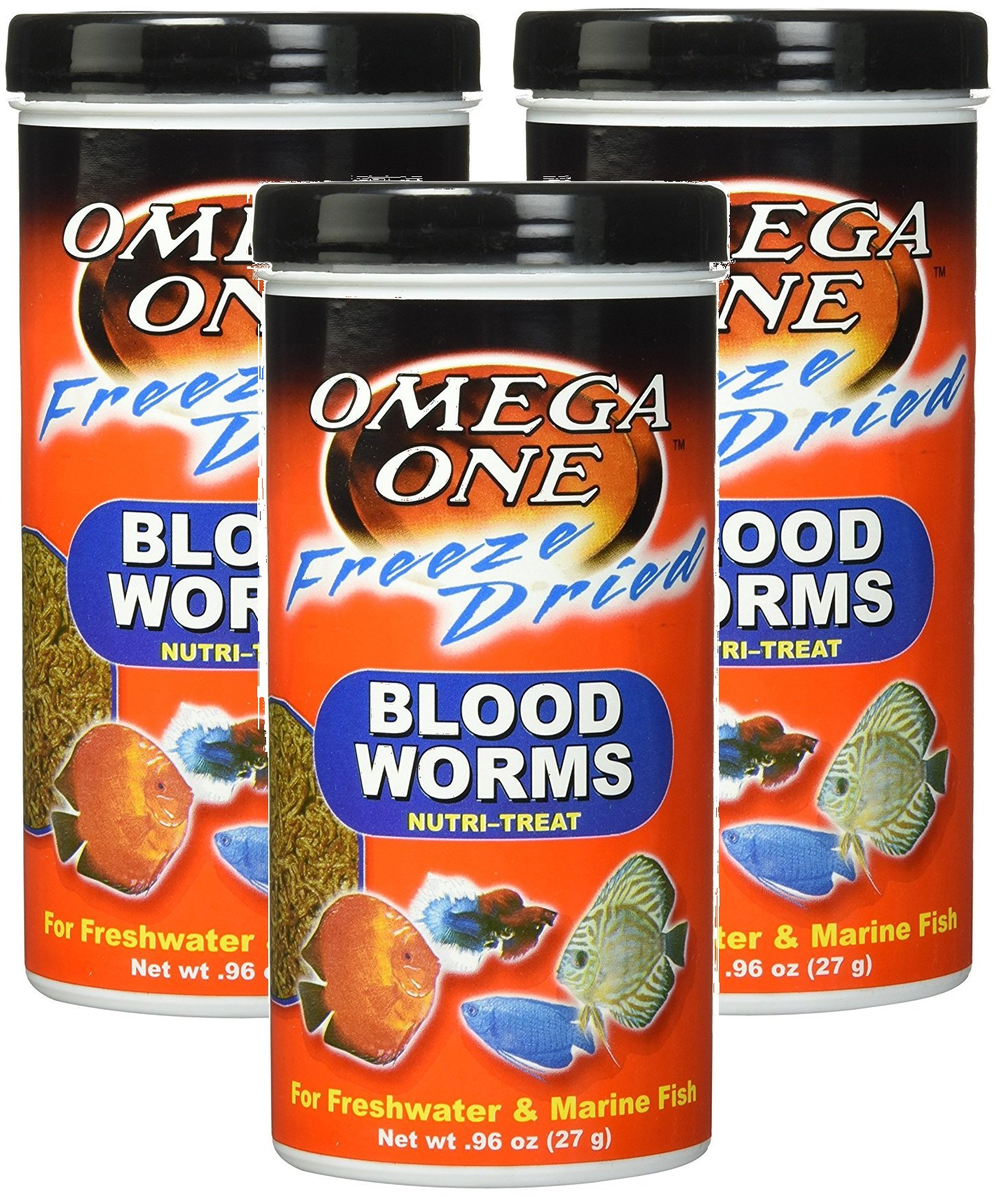(3 Pack) Omega One Freeze Dried Blood Worms 0.96oz