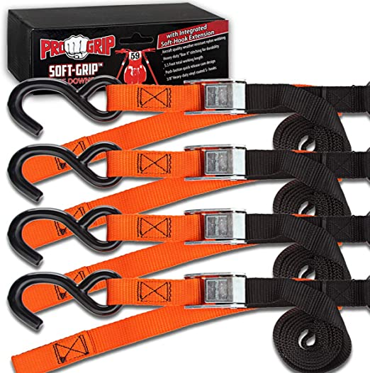 Progrip Powersports Motorcycle Soft Loop Tie Down Straps Lab Tested Grn 2 Pack