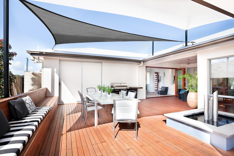 Resistente e Traspirante Color Grafite per spazi allaperto Sunnylaxx Tenda a Vela Triangolare 5 x 5 x 7 Metri