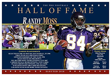 finest selection deb5b fe7ad PosterWarehouse2017 SUPERSTAR RECEIVER RANDY MOSS PRO FOOTBALL HALL OF FAME  COMMEMORATIVE POSTER