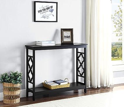 Black Finish 2 Tier Quatrefoil Design Occasional Console Sofa Table Bookshelf