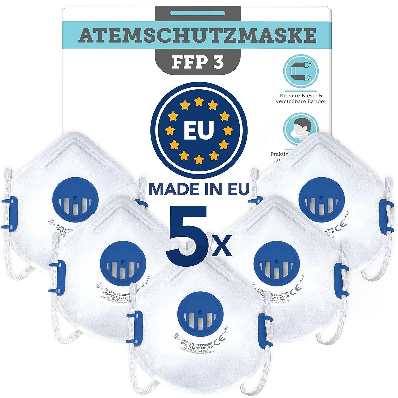 Mascarillas FFP3 (5x) Fabricado en la UE - Mascarilla CE (EN149:2001+A1:2009) -