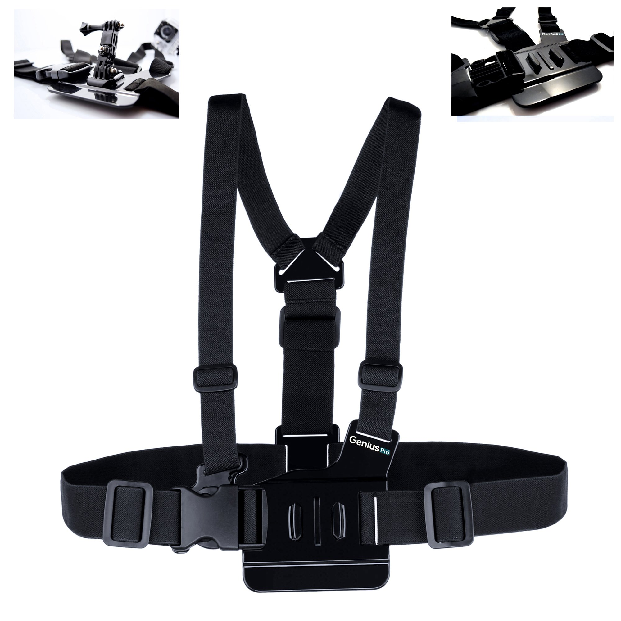 GeniusPro Chest Strap Mount Harness GoPro with Extra 3-way adjustment base for Hero 4/3+/3/2/1/SJ4000/XIAOY I