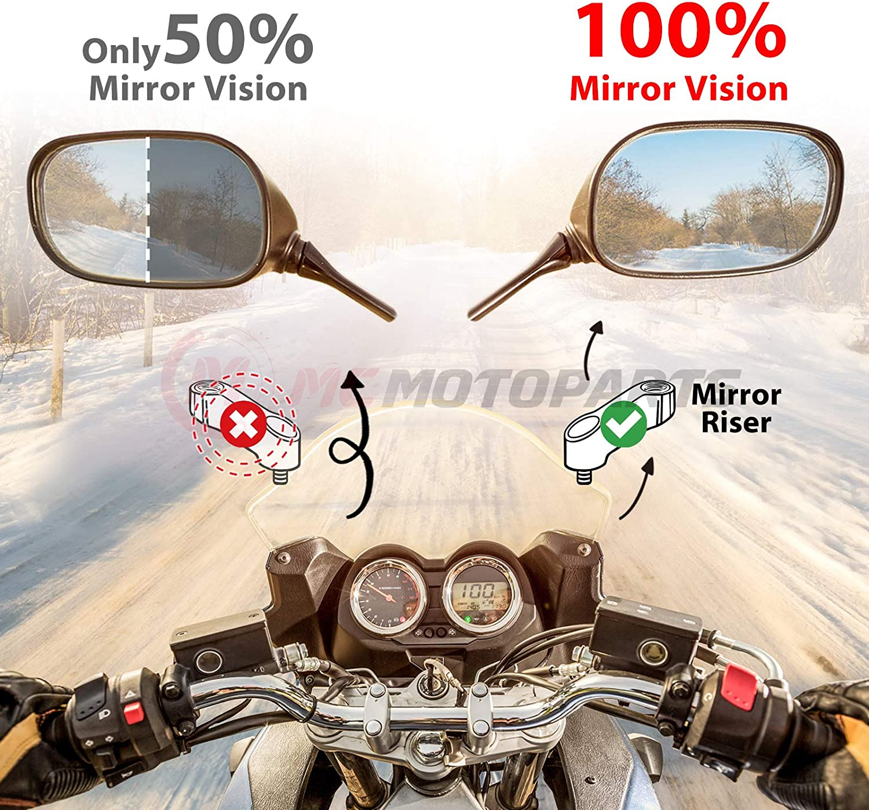 MC MOTOPARTS MT03 Logo 10mm CNC Mirror Risers Extenders For Yamaha MT-03 MT03 FZ03 2006-2020 11 12 13 14 15 16 17 18 19
