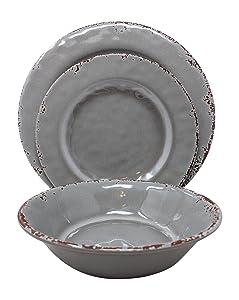 Gianna's Home 12 Piece Rustic Farmhouse Melamine Dinnerware Set, Service for 4 (Gray)