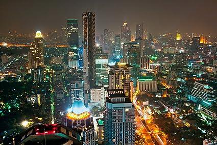 Amazon.com: Bangkok Skyline at Night Póster Arte Foto ...