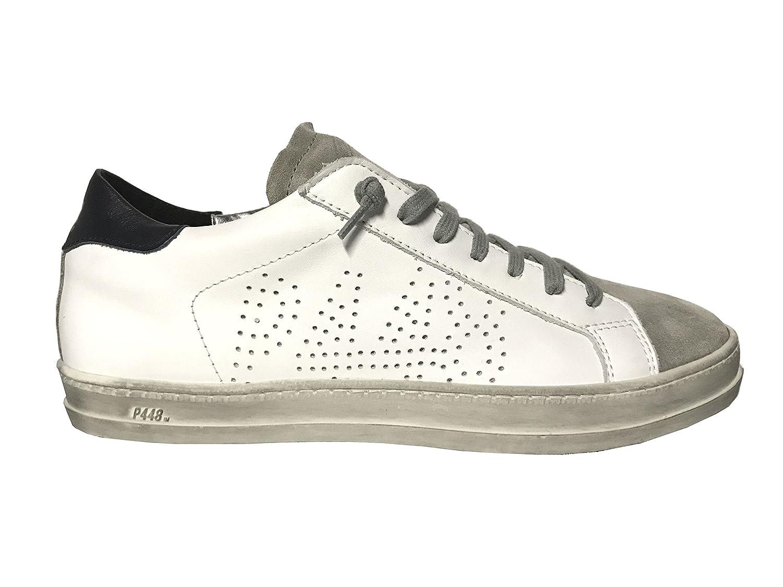 P448 Zapatillas de Piel Para Hombre Blanco Blanco 45 EU