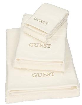 BETZ Juego de 3 Toallas Toalla de Lavabo Toalla de tocador Toalla de baño 100% algodón Color Crema Guest: Amazon.es: Hogar