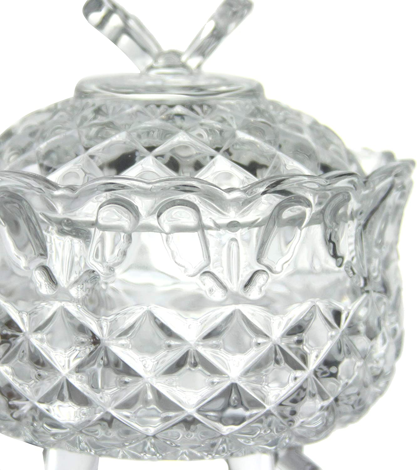 Glass Candy Sweet Bowl Jar with Lid Crystal Cut Look Bonbon Jar Sugar Bowl Small Decorative Chocolate Dish Storage Container Candy Buffet Box Round Footed Clear Butterfly