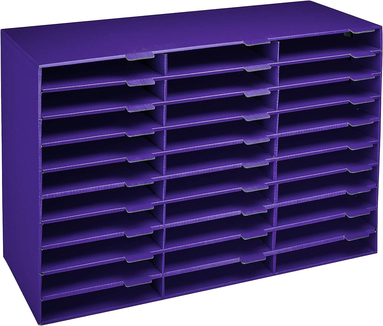 AdirOffice File Organizer Classroom - Office - Home - Corrugated Cardboard (30 Slots, Purple)