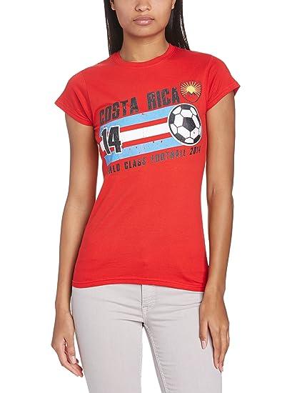 Football Fan - Camiseta de manga corta para mujer, color rojo, talla xl