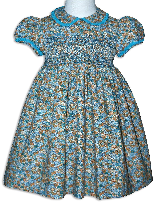 Yellow dress blue smocked peter pan collar.