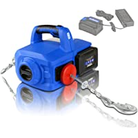 Landworks Electric Portable Winch Hoist Crane Lift Brushless Motor Li-Ion Battery Powered 1000Lbs/455Kgs Max Weight 20' Feet/6m Steel Braided Cable w/Locking Knob for atv truck boat trailer etc.
