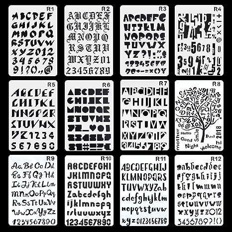 Aolvo - Plantilla de 12 plantillas para diario, grabado, diseño de cartas, para