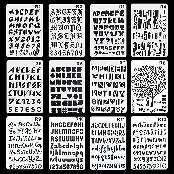 Aolvo Schablonen 12 Stuck Zum Gravieren Von Buchstaben