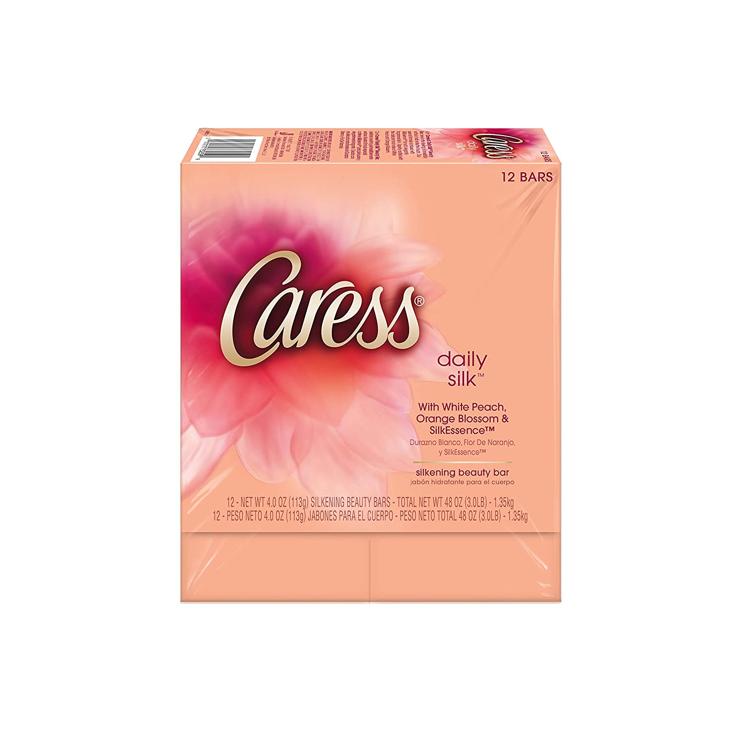 Caress Beauty Bar, Daily Silk 4 oz, 12 Bar, Pack of 2