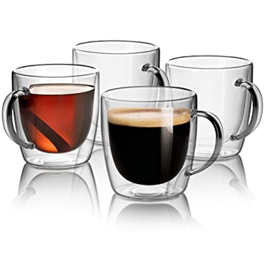 Set Of 4 Mugs - 14 oz Large Coffee Mug Double Wall Glass, Clear Cups, Dishwasher. Microwave, freezer with NO RISK.