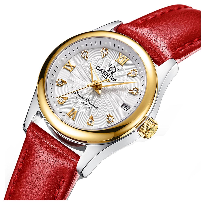 Luxury Women 's Automatic Mechanical Luminousカレンダーダイヤモンド本革防水Girls Watches レッドホワイト B077CSNNPBレッドホワイト