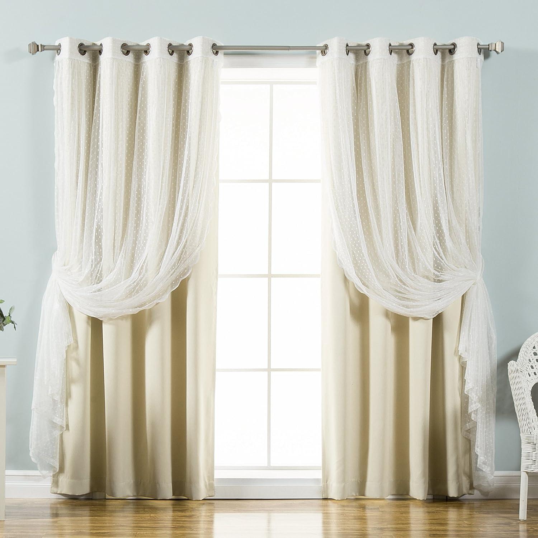 Best Home Fashion Mix & Match Dotted Tulle Lace & Solid Blackout Curtain Set – Antique Bronze Grommet Top (52