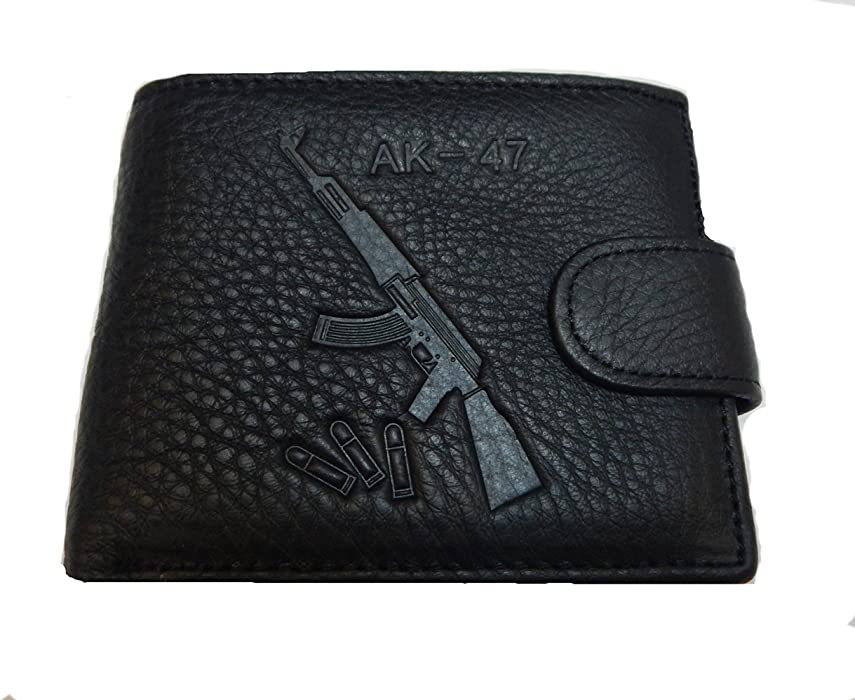 b57815d6382 Mossad AK47 Men s Genuine BLACK Leather Wallet - Gift Boxed Bi-Fold Leather  Wallet