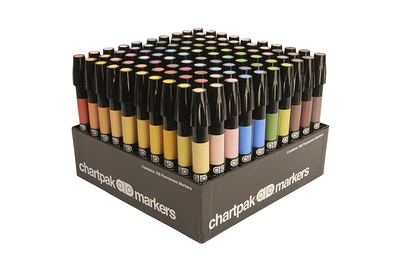 The Original Chartpak AD Markers, Tri-Nib, 100 Assorted Colors in Slot Caddy, 1 Each (AD100)