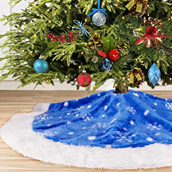 Yuboo Blue Christmas Tree Skirt 36 Inches Plush Fur With White Snowflakes For Christmas For Xmas Party Holiday Decorations