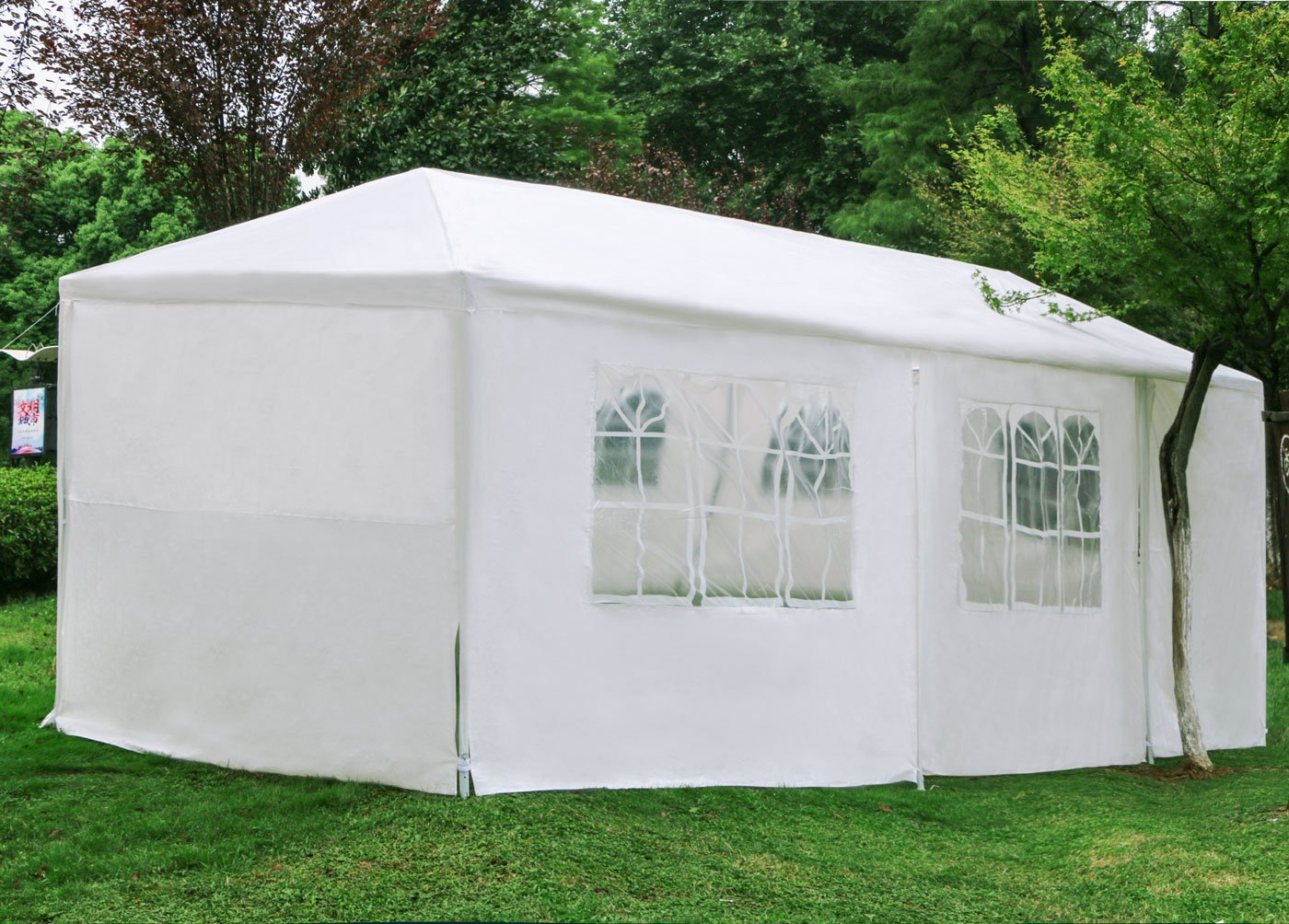 Woworld Outdoor Canopy Tent 10ftx30ft Carport Sidewalls Windows Wedding Party Tent White(10x30)