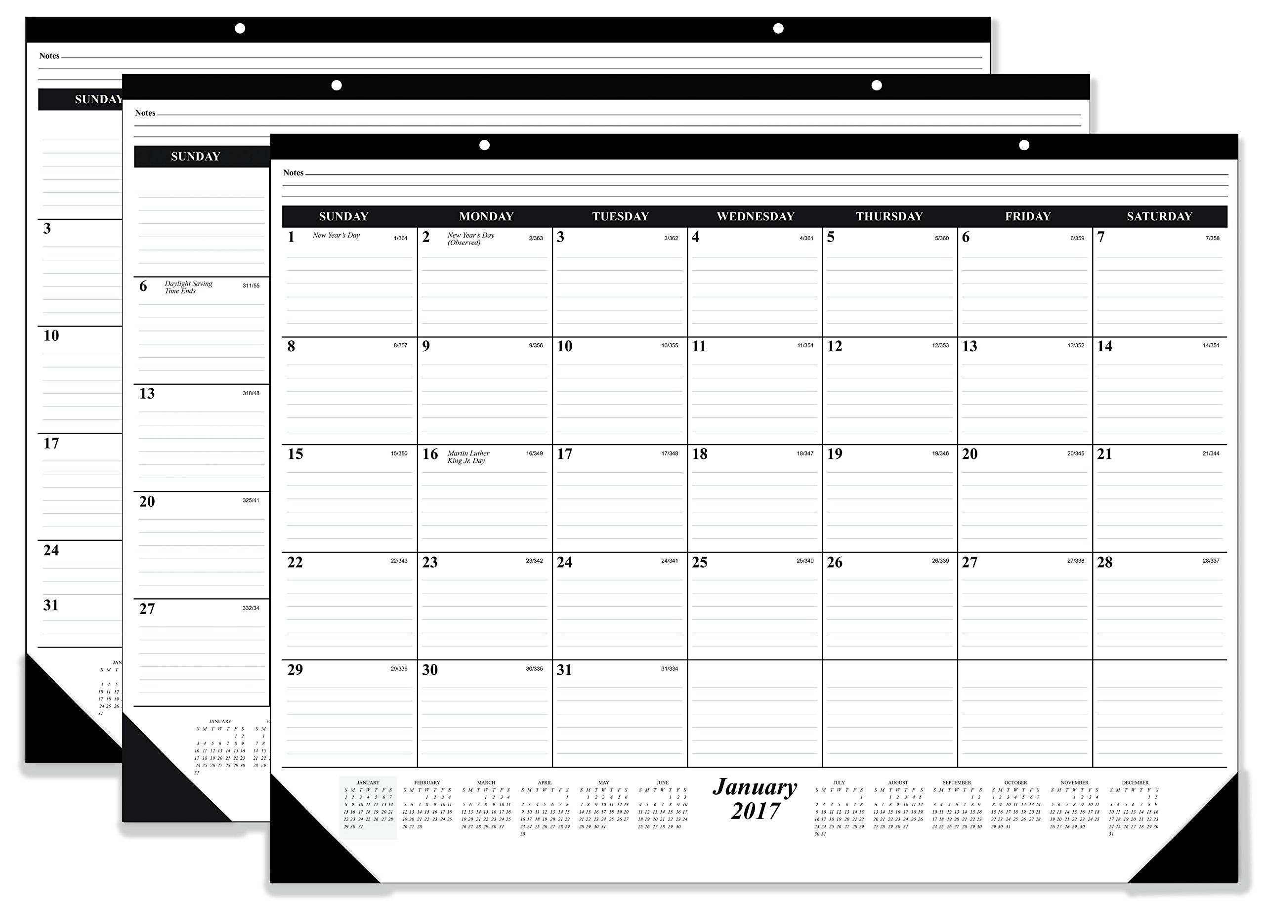 CALENDAR DEAL OF THE YEAR!! 10 PACK DESKPAD CALENDAR 2017 12 Month Calendar, Ruled, 17 x 22 Inches
