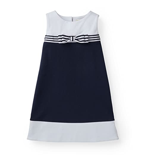 Hope & Henry Girls' Navy and White Colorblock Ponte Dress Made with Organic Cotton