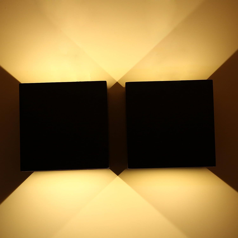 Topmo 2 piezas 12w lámpara de pared LED impermeable IP65 moderno al aire libre apliques 840LM 3000K blanco cálido aluminio apliques llevó exterior Arriba y Abajo Diseño 10*10*10 CM negro [Clase de eficiencia energética A+] Topmo-plus