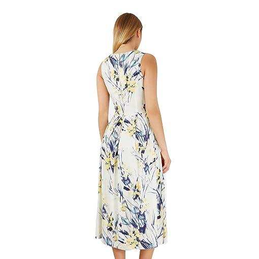 Shoppen Sie Closet Multi Reed Print V Neck Kleid creme XS-S (Uk8/10) auf  Amazon.de:Kleider