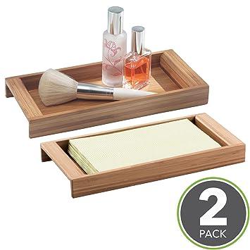 mdesign Bandeja de bambú – Original recipiente para objetos pequeños – Bandeja decorativa de material natural
