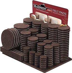 Yelanon Furniture Pads 347 Pieces - Self Adhesive Felt Pad Brown Felt Furniture Pads Anti Scratch Floor Protectors for Chair Legs Feet for Protect Hardwood Tile Wood Floor & Laminate Flooring