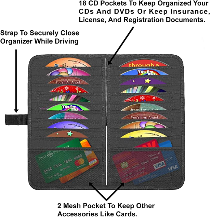 DVDs Storage Case Registration Personal Belonging Storage Pouch Organizer lebogner Car Sun Visor CD Holder and Vehicle Organizer Document and Ticket Holder Auto Interior Accessories 10 Pocket CD