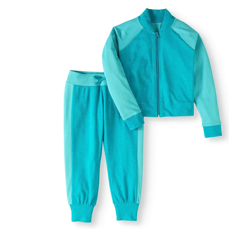 RAINBEAU Girls Heather Mesh Bomber Track Jacket and Jogger Pants Set